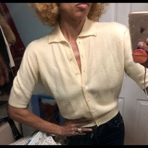 Vtg 50s 60s ivory buttoned sweater top SS retro S